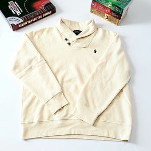 Boys Polo ivory collared sweatshirt